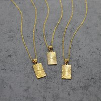 Gold Filled Rectangle Pendant Necklace, Gold