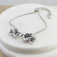 Vintage Style Silver Love Birds Bracelet, Silver