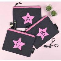 Alphabet Letter Neon Pink And Grey Make Up Bag