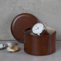 Leather Watch Box Single Round, Dark Brown/Brown