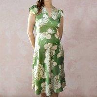 Green Hydrangea Print Crepe Party Dress