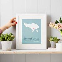 Personalised Wedding Print, Coral/Plum/Sky Blue