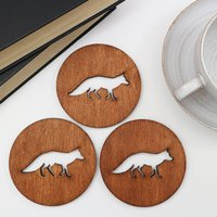 Drinks Coasters With Fox Design, Set Of Four