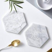 Botanical Personalised Marble Coasters