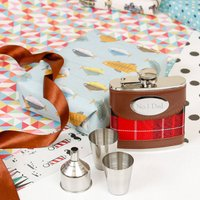 Personalised Tartan Hip Flask With Shot Glasses