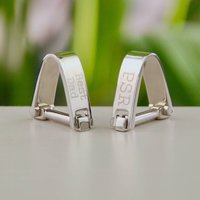 Contemporary Personalised Silver Wrap Cufflinks, Silver