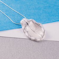 Silver Textured Leaf Pendant, Silver