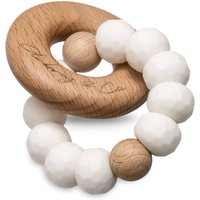 Opal Rattle Handmade White Silicone And Wood Rattle