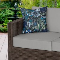 Botanical Blue Floral Water Resistant Outdoor Cushion