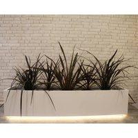 LED Light Up Garden Trough Planter, White/Black/Grey