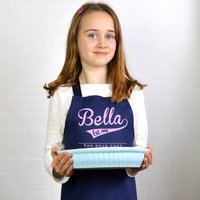 Personalised Retro Style Child's Apron, Navy/Red/Cream