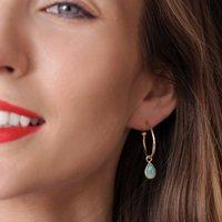 Hoops With Teardrop Gemstone Charm