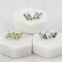 Sterling Silver Stud Earrings With Peridot/ Blue Topaz, Silver