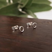 Small Silver Link Studs, Silver