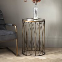 Bronze Metal Side Table With Antique Mirror Top