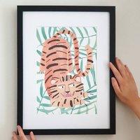 Crouching Tiger Plant Illustrated Wall Art Print