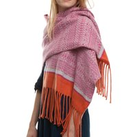 Knitted Fair Isle Blanket Wrap Ladies Scarf, Linen/Pink/Orange