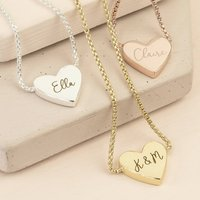 Personalised Box Chain And Heart Pendant Necklace