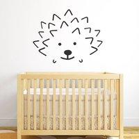 Hedgehog Face Wall Sticker, White/Golden Yellow/Yellow Orange