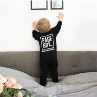 Personalised Page Boy Baby Romper, Light Blue/Blue/White