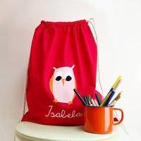 Kids Owl Gym Bag With Name