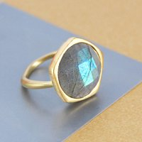 Genuine Labradorite Gold Gemstone Ring, Gold