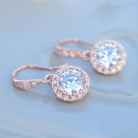 Rose Gold Round Pave Drop Earrings, Gold