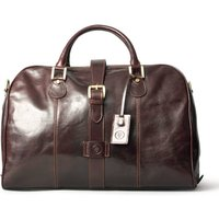 Leather Cabin Sized Luggage Bag. The Farini, Chestnut/Tan/Dark Chocolate