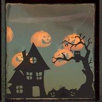 Spooky Halloween Village Scene Vinyl Sticker