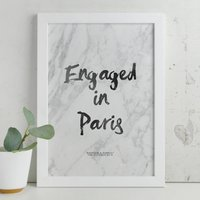Personalised Engagement Brush And Marble Print