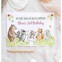 Birthday Invitation Girls Boys Woodland