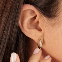 Small Round Solid Gold Or Silver Hoop Earrings, Silver