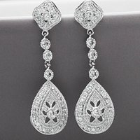 Vintage Style Drop Crystal Earrings
