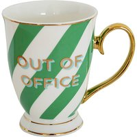 'Out Of Office' Green Stripes Typography Mug