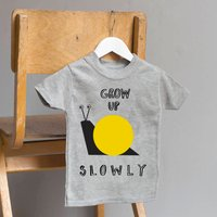 Grow Up Slowly Snail T Shirt, Grey/White/Blue