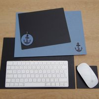Anchor Engraved Leather Desk Mat