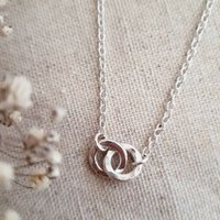 Embrace Double Link Silver Necklace, Silver