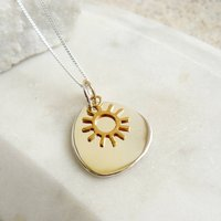 Silver Lozenge With Gold Sun Charm Necklace, Silver