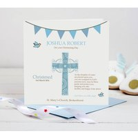Christening Card Blue Cross, Blue