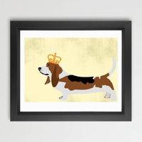 Basset Hound Dog With Crown Fine Art Print