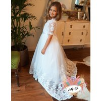 Olivia ~ Flower Girl In White Or Ivory, White/Ivory/Baby Blue