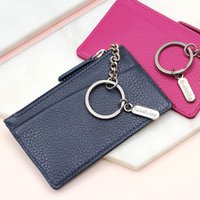 Leather Purse With Personalised Silver Charm Keyring, Navy/Pink/Gunmetal