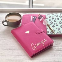Personalised Pink Organiser With Leopard Notebook