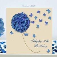 50th Birthday Card, Butterfly Blue Hydrangea Card