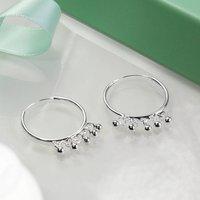 Sterling Silver Hoop With Beads Earrings, Silver
