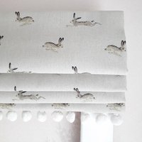 Jumping Hares Blackout Roman Blind