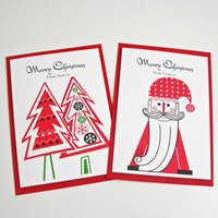 Personalised Christmas Father And Tree Card Pack