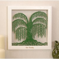Personalised Willow Family Tree Wall Art, White/Black