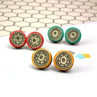 Illustrated Circle Geometric Earrings, Mustard/Yellow/Turquoise