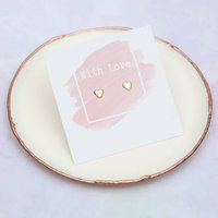 9ct Gold With Love Heart Earrings, Gold